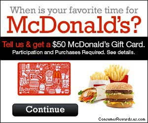 Free $50 McDonald's Gift Card!