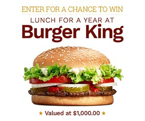 Win A Lunch for A Year At Burger King