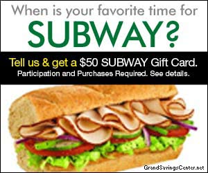Free $50 Subway Gift Card