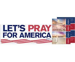 "Free ""Let's Pray For America"" Bumper Sticker + Patriotic Cards"