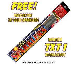 Free Phantom Fireworks 6 Gold Sparklers Pack