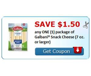 Save $1.50 any ONE (1) package of Galbani® Snack Cheese