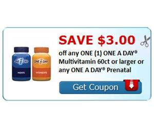 Save $3.00 off any ONE (1) ONE A DAY® Multivitamin 60ct or larger or any ONE A DAY® Prenatal