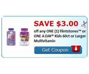 Save $3.00 off any ONE (1) Flintstones™ or ONE A DAY® Kids 60ct or Larger Multivitamin