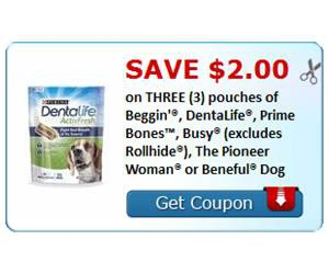 Save $2.00 on THREE (3) pouches of Beggin'®, DentaLife®, Prime Bones™, Busy®