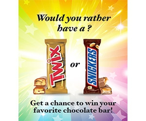 Win A Twix Or Snickers Chocolate Bar