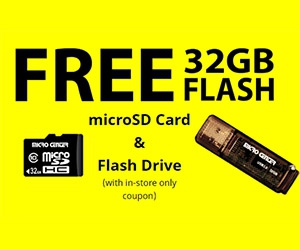 Free 32GB microSD Card and Flash Drive from Micro Center