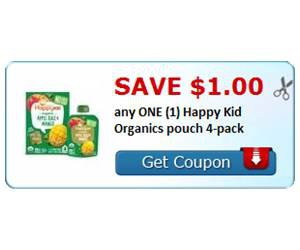 Save $1.00 any ONE (1) Happy Kid Organics pouch 4-pack