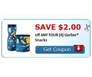 Save $2.00 off ANY FOUR (4) Gerber® Snacks