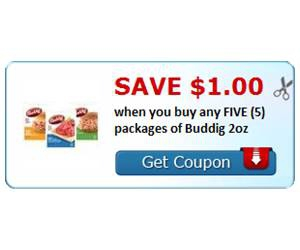 Save $1.00 when you buy any FIVE (5) packages of Buddig 2oz