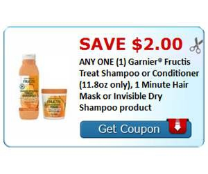 Save $2.00 ANY ONE (1) Garnier® Fructis Treat Shampoo or Conditioner