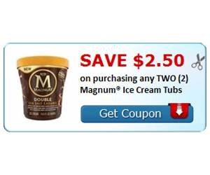 Save $2.50 on purchasing any TWO (2) Magnum® Ice Cream Tubs