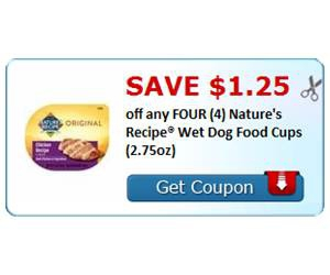 Save $1.25 off any FOUR (4) Nature's Recipe® Wet Dog Food Cups