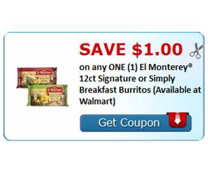 Save $1.00 on any ONE (1) El Monterey® 12ct Signature or Simply Breakfast Burritos