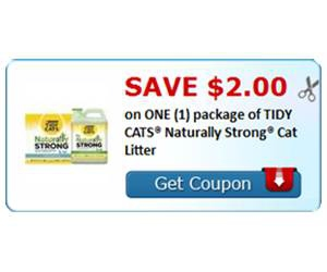 Save $2.00 on ONE (1) package of TIDY CATS® Naturally Strong® Cat Litter