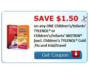Save $1.50 on any ONE Children's/Infants' TYLENOL® or Children's/Infants' MOTRIN® (excl. Children's TYLENOL® Cold & Flu and trial/travel