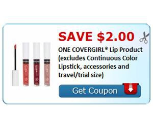 Save $2.00 ONE COVERGIRL® Lip Product (excludes Continuous Color Lipstick, accessories and travel/trial size)