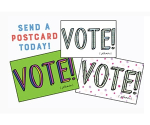 "Free ""Vote!"" x3 Postcards"