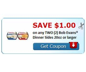 Save $1.00 on any TWO (2) Bob Evans® Dinner Sides 20oz or larger