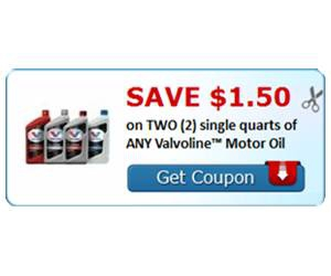 Save $1.50 on TWO (2) single quarts of ANY Valvoline™ Motor Oil