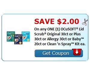 Save $2.00 On any ONE (1) OCuSOFT® Lid Scrub® Original 30ct or Plus 30ct or Allergy 30ct or Baby™ 20ct or Clean 'n Spray™ Kit ea.