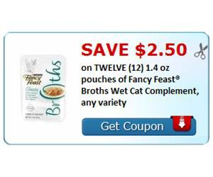 Save $2.50 on TWELVE (12) 1.4 oz pouches of Fancy Feast® Broths Wet Cat Complement, any variety