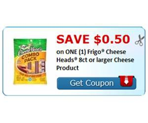 Save $0.50 on ONE (1) Frigo® Cheese Heads® 8ct or larger Cheese Product
