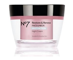 Free No7 Restore & Renew Multi Action Night Cream Sample