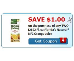 Save $1.00 on the purchase of any TWO (2) 52 Fl. oz Florida's Natural® NFC Orange Juice
