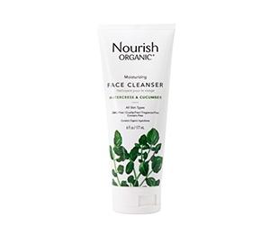 Free bottle of Nourish Organic Moisturizing Face Cleanser