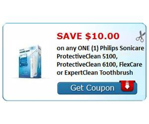 Save $10.00 on any ONE (1) Philips Sonicare ProtectiveClean 5100, ProtectiveClean 6100, FlexCare or ExpertClean Toothbrush