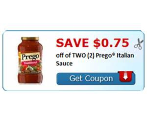 Save $0.75 off of TWO (2) Prego® Italian Sauce