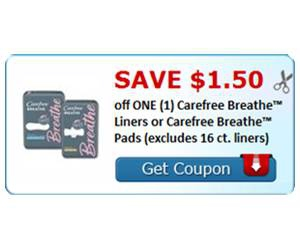 Save $1.50 off ONE (1) Carefree Breathe™ Liners or Carefree Breathe™ Pads
