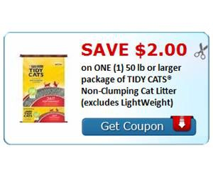 Save $2.00 on ONE (1) 50 lb or larger package of TIDY CATS® Non-Clumping Cat Litter