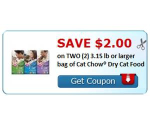 Save $2.00 on TWO (2) 3.15 lb or larger bag of Cat Chow® Dry Cat Food