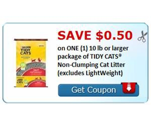 Save $0.50 on ONE (1) 10 lb or larger package of TIDY CATS® Non-Clumping Cat Litter