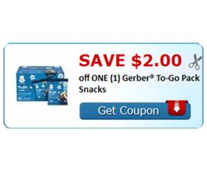 Save $2.00 off ONE (1) Gerber® To-Go Pack Snacks