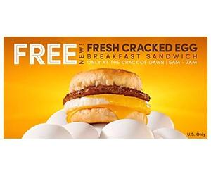 Free Fresh Cracked Egg Breakfast Sandwich at Tim Hortons