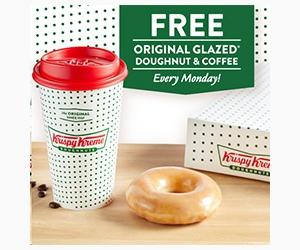 Free Original Glazed Doughnut and Medium Coffee at Krispy Kreme