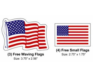 Free American Flag x10 Decals