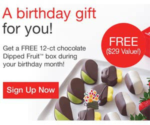 Free 12-ct Chocolate Dipped Fruit Box During Your Birthday Month