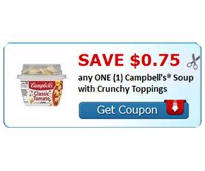 Save $0.75 any ONE (1) Campbell's® Soup with Crunchy Toppings