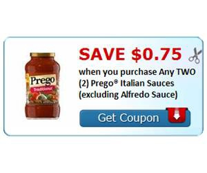 Save $0.75 when you purchase Any TWO (2) Prego® Italian Sauces